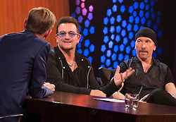 Repro Free: 24/10/2014<br /> U2&rsquo;s Bono and The Edge are pictured chatting with Ryan Tubridy on the RT&Eacute; Late Late Show. Picture Andres Poveda