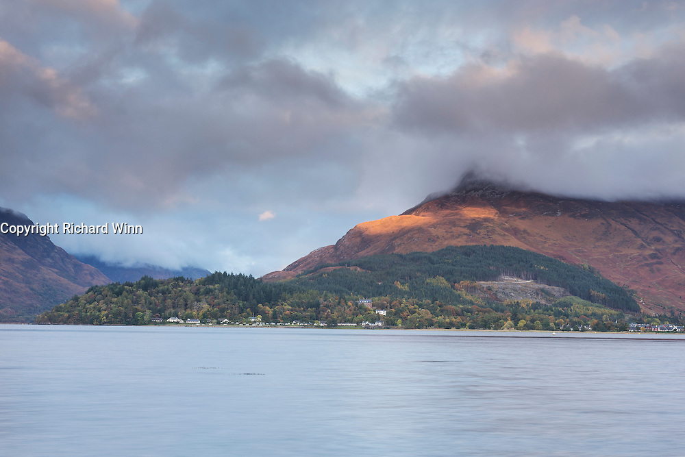 The Pap of Glencoe or Sgorr na Ciche lit by the late evening sun in autumn.