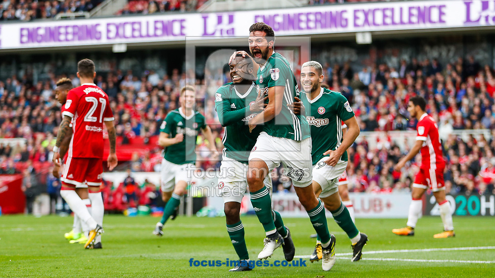 Yoann Barbet of Brentford celebrates scoring the opening goal during the Sky Bet Championship match between Middlesbrough and Brentford at the Riverside Stadium, Middlesbrough<br /> Picture by Mark D Fuller/Focus Images Ltd +44 7774 216216<br /> 30/09/2017