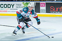 KELOWNA, CANADA - NOVEMBER 11: Dillon Dube #19 of the Kelowna Rockets skates with the puck during second period against the Red Deer Rebels on November 11, 2017 at Prospera Place in Kelowna, British Columbia, Canada.  (Photo by Marissa Baecker/Shoot the Breeze)  *** Local Caption ***