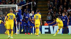 Alex Telles of FC Porto takes a free kick - Mandatory by-line: Matt McNulty/JMP - 27/09/2016 - FOOTBALL - King Power Stadium - Leicester, England - Leicester City v FC Porto - UEFA Champions League