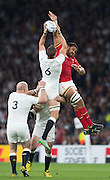 Twickenham, Great Britain,     Wales' Taulupe FALETAU and Tom WOOD compete for the high ball, during the Pool A Game, England vs Wales.  2015 Rugby World Cup, Venue, The RFU Stadium, Twickenham, Surrey, ENGLAND. Saturday   26/09/2015  [Mandatory Credit; Peter Spurrier/Intersport-images]