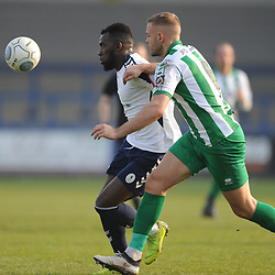 TELFORD COPYRIGHT MIKE SHERIDAN 30/3/2019 - Amari Morgan Smith of AFC Telford battles for the ball with Louis Laing during the Vanarama National League North fixture between AFC Telford United and Blyth Spartans at the New Bucks Head.