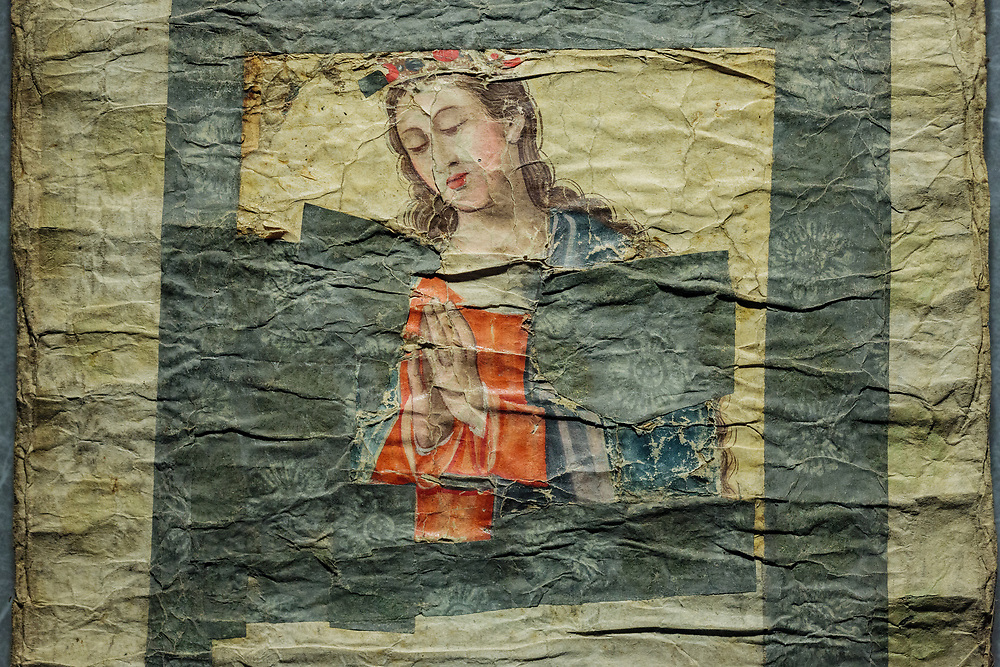 Our Lady of the Snows painting that survived the persecution. An example of Western-Japanese Nanban art using Japanese materials and paints.