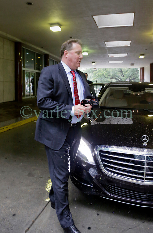 12 June  2015. New Orleans, Louisiana. <br /> Dennis Lauscha, President of the New Orleans Saints arrives at Civil District Court on the last day of a hearing to determine the competency of Tom Benson. Benson is the billionaire owner of the NFL New Orleans Saints, the NBA New Orleans Pelicans, various auto dealerships, banks, property assets and a slew of business interests. Rita, her brother and mother demanded a competency hearing after Benson changed his succession plans and decided to leave the bulk of his estate to third wife Gayle, sparking a controversial fight over control of the Benson business empire.<br /> Photo©; Charlie Varley/varleypix.com