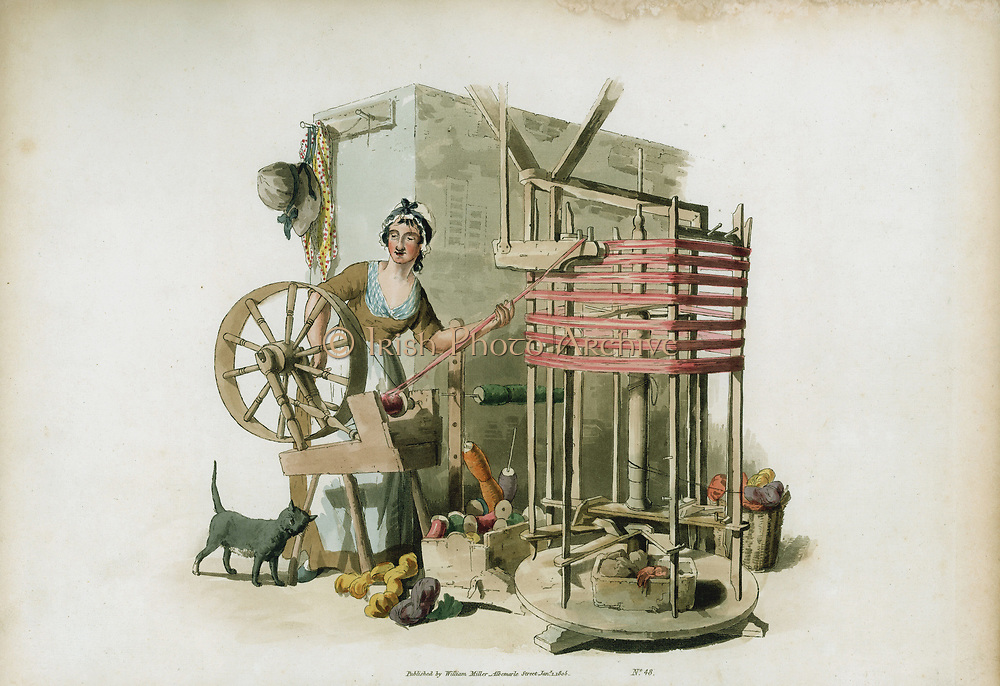 The Worsted Winder. From William Henry Pyne 'The Costume of Great Britain', London,1805. Woman winding worsted thread on to bobbins ready for lace making. Aquatint