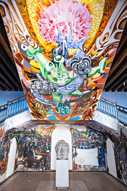 Murals painted in the stairwell in the colonial style City Hall courtyard in the central historic district of Coatepec, Veracruz State, Mexico.