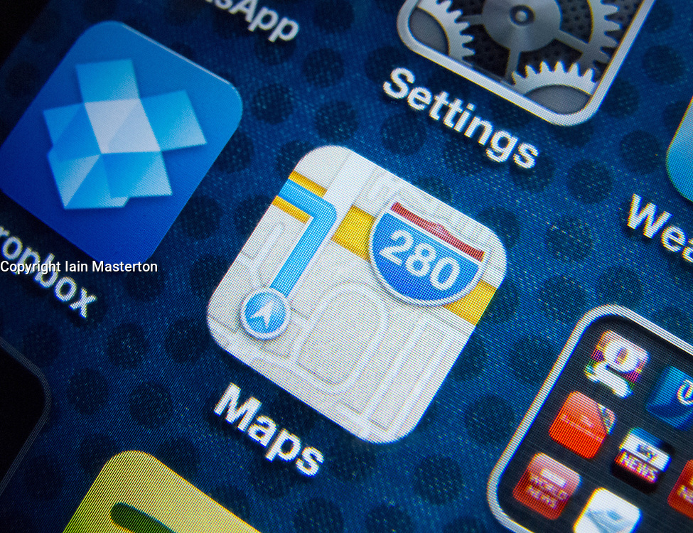 Detail of new Maps app on iPhone screen. Apple's new Maps application has been criticised by users for providing inaccurate locations of some destinations. The App was bundled with the new iOS6.0 operating system and replaces Google maps.