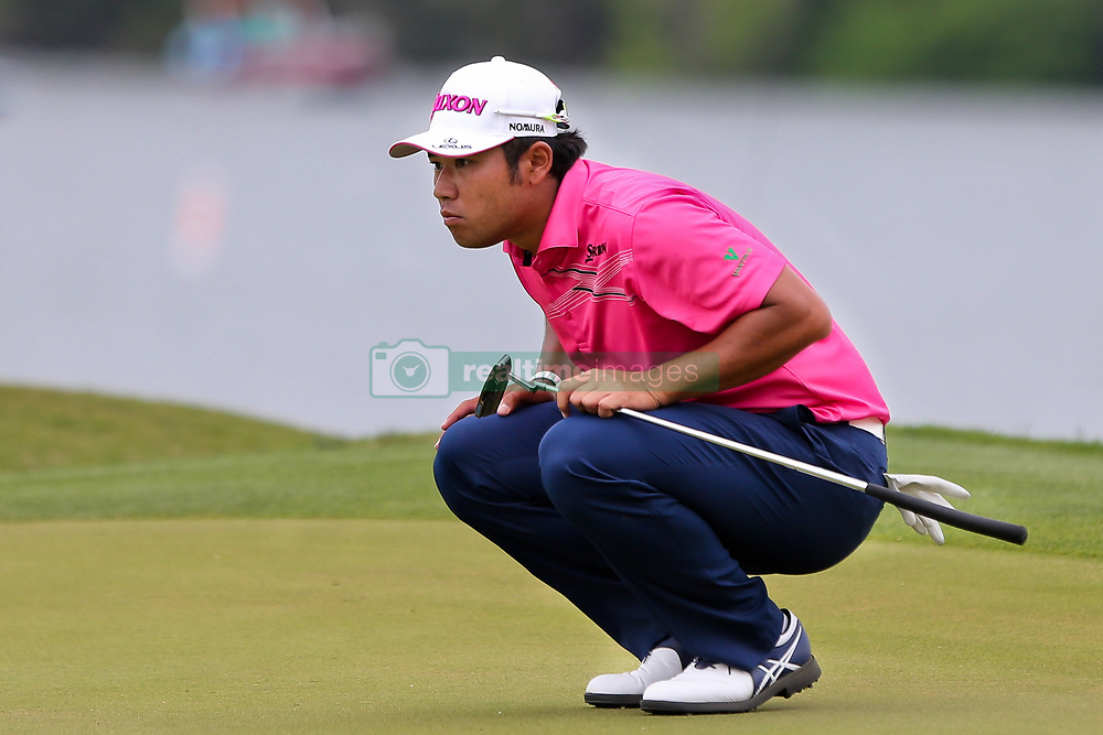 March 29, 2019 - Austin, Texas, United States - Hideki Matsuyama lines up a putt on the 14th green during the third round of the 2019 WGC-Dell Technologies Match Play at Austin Country Club. (Credit Image: © Debby Wong/ZUMA Wire)