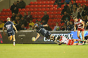 J Strauss one handed pass during the Aviva Premiership match between Sale Sharks and Gloucester Rugby at the AJ Bell Stadium, Eccles, United Kingdom on 29 September 2017. Photo by George Franks.