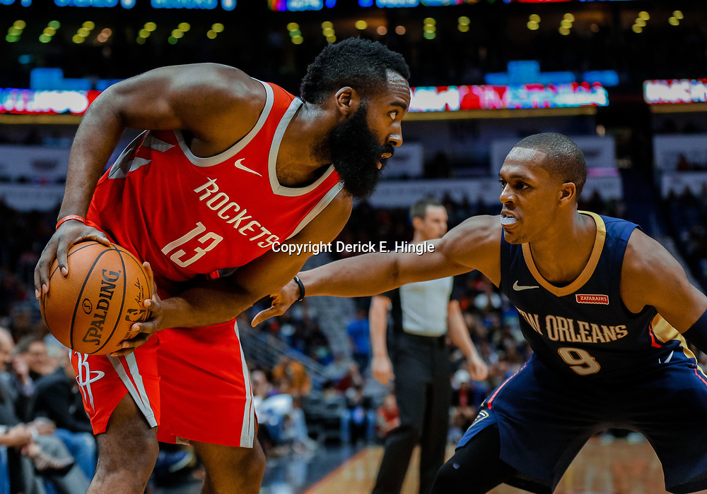 Jan 26, 2018; New Orleans, LA, USA; Houston Rockets guard James Harden (13) against New Orleans Pelicans guard Rajon Rondo (9) during the first quarter at the Smoothie King Center. Mandatory Credit: Derick E. Hingle-USA TODAY Sports