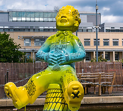 Pictured: Oor Wullie Bucket Art Trail. Leith, Edinburgh, Scotland, United Kingdom, 17 June 2019. An art trail of 200 Oor Wullie sculptures have appeared in Scottish cities overnight in a mass arts event that lasts until August 30th. The sculptures will be auctioned to raise money for Scotland's children's hospital charities. There are 5 in the Leith area, and 60 in Edinburgh altogether. Sailoor Wullie by The Leith Agency at Commercial Quay near the Scottish Government building, Victoria Quay.<br /> Sally Anderson | EdinburghElitemedia.co.uk