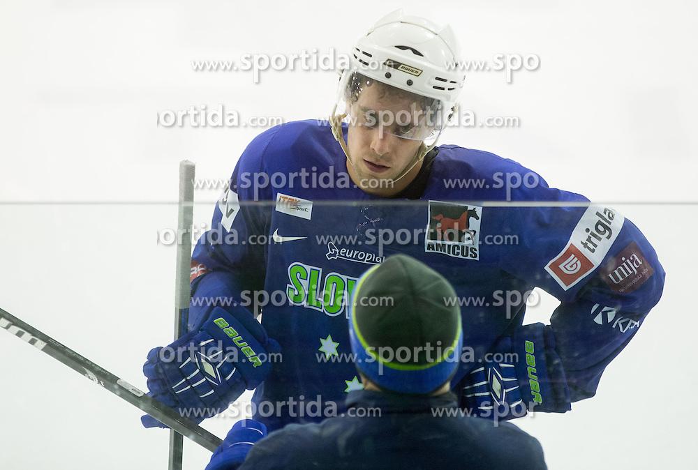 Anze Kopitar and his father Matjaz Kopitar, head coach during practice session of Slovenian National Ice Hockey Team prior to the IIHF World Championship in Ostrava (CZE), on April 21, 2015 in Hala Tivoli, Ljubljana, Slovenia. Photo by Vid Ponikvar / Sportida
