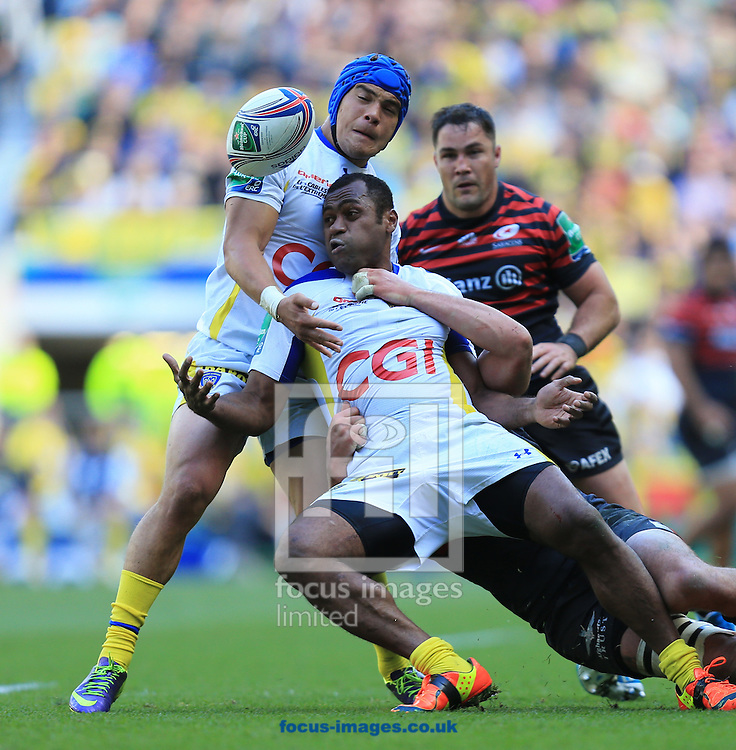 Sitiveni Sivivatu of Clermont Auvergne loses the ball during the Heineken Cup Semi-Final at Twickenham Stadium, Twickenham<br /> Picture by Michael Whitefoot/Focus Images Ltd 07969 898192<br /> 26/04/2014
