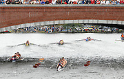 Boston, USA, Club Men's eights, passing through the  Eliot Bridge.   Head of the Charles, Race Charles River,  Cambridge,  Massachusetts. Saturday  20/10/2007 [Mandatory Credit Peter Spurrier/Intersport Images]..... , Rowing Course; Charles River. Boston. USA