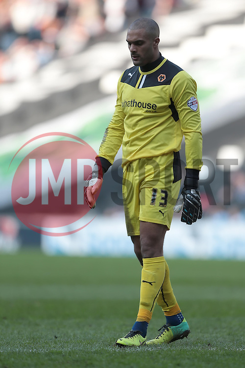 Wolverhampton Wanderers goalkeeper Carl Ikeme (13)  - Photo mandatory by-line: Nigel Pitts-Drake/JMP - Tel: Mobile: 07966 386802 29/03/2014 - SPORT - FOOTBALL -  Stadium MK - Milton Keynes - Milton Keynes Dons v Wolverhampton Wanderers - Sky Bet League One