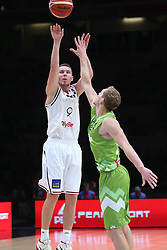 Dairis Bertans of Latvia vs Jaka Blazic of Slovenia during basketball match between Latvia and Slovenia at Day 8 in Round of 16 of FIBA Europe Eurobasket 2015, on September 12, 2015, in LOSC Lile stadium, Croatia. Photo by Marko Metlas / MN PRESS PHOTO / SPORTIDA
