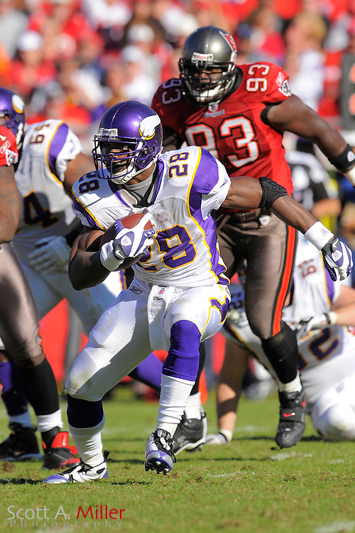 Nov. 16, 2008; Tampa, FL, USA; Minnesota Vikings running back Adrian Peterson (28) in action during the  Vikings game against the Tampa Bay Buccaneers at Raymond James Stadium. The Bucs won 19-13. ...©2008 Scott A. Miller