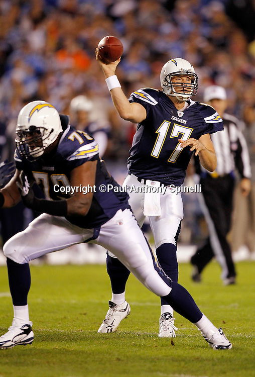 San Diego Chargers quarterback Philip Rivers (17) throws a pass during the NFL week 11 football game against the Denver Broncos on Monday, November 22, 2010 in San Diego, California. The Chargers won the game 35-14. (©Paul Anthony Spinelli)