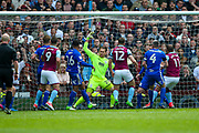 Aston Villa forward Gabriel Agbonlahor (11) scores a goal  to make the score  1-0 during the EFL Sky Bet Championship match between Aston Villa and Birmingham City at Villa Park, Birmingham, England on 23 April 2017. Photo by Simon Davies.