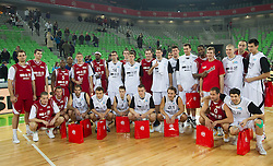 Skupinska fotografija clanov na Dnevu slovenske kosarke, on January 2, 2011 in Arena Stozice, Ljubljana, Slovenia.  (Photo By Vid Ponikvar / Sportida.com)