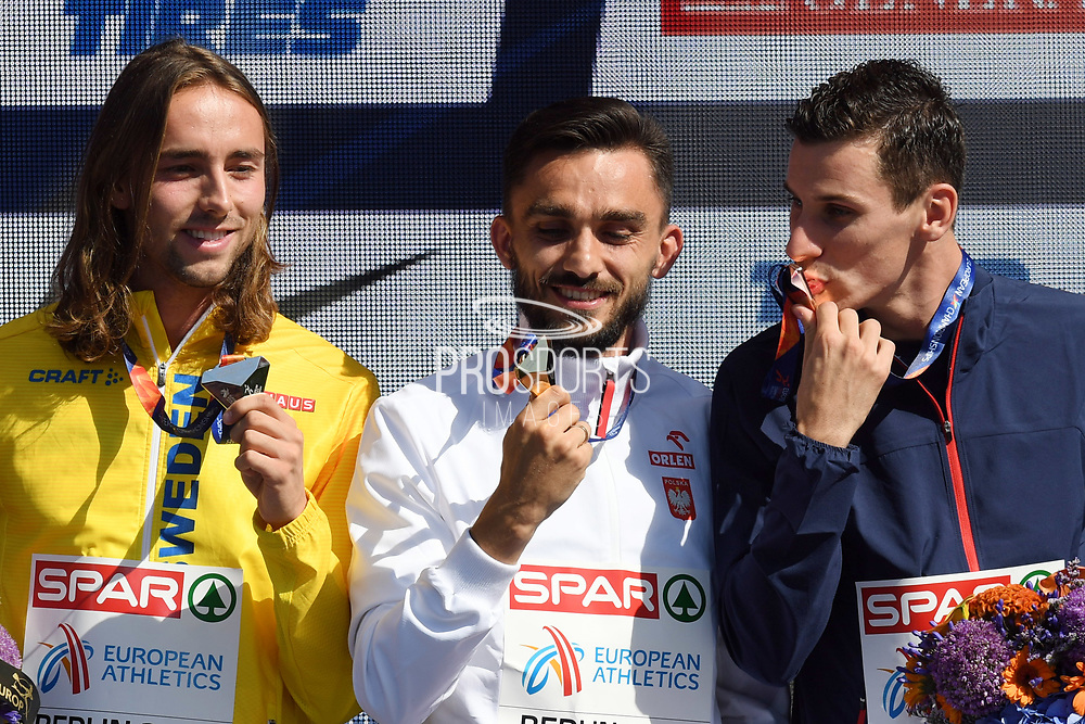 Adam Kszczot takes gold medal and Pierre-Ambroise Bosse takes bronze medal during the European Championships 2018, at Olympic Stadium in Berlin, Germany, Day 6, on August 12, 2018 - Photo Philippe Millereau / KMSP / ProSportsImages / DPPI