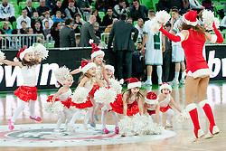 Cheerleaders Junior Dragon Ladies during basketball match between KK Union Olimpija and Unics Kazan (RUS) of 10th Round in Group D of Regular season of Euroleague 2011/2012 on December 21, 2011, in Arena Stozice, Ljubljana, Slovenia. Unics Kazan defeated Union Olimpija 76:63.(Photo by Matic Klansek Velej / Sportida)