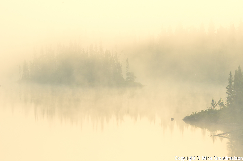 Morning fog on Walker Lake<br /> Near Schreiber<br /> Ontario<br /> Canada