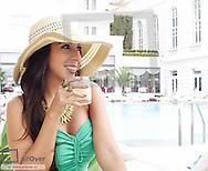 Rio de Janeiro, Copacabana, Copacabana Palace Hotel, young woman, Brazil (model-released)