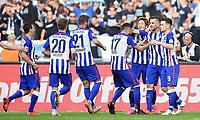 Fotball<br /> Tyskland<br /> 03.10.2015<br /> Foto: Witters/Digitalsport<br /> NORWAY ONLY<br /> <br /> 2:0 Jubel v.l. Mitchell Weiser, Marvin Plattenhardt, Tolga Cigerci, Genki Haraguchi, Torschuetze Vedad Ibisevic, Alexander Baumjohann (Berlin)<br /> Fussball Bundesliga, Hertha BSC Berlin - Hamburger SV 3:0
