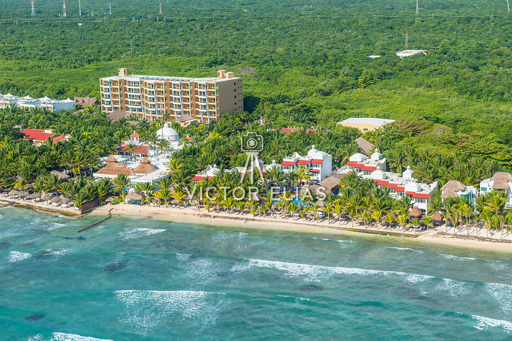 Aerial view of the Hidden Beach Resort. Akumal, Riviera Maya, Mexico.