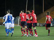 13th February 2018, Rugby Park, Kilmarnock, Scotland; Scottish Premiership football, Kilmarnock versus Dundee; Sofien Moussa of Dundee is congratulated after scoring for 1-1 from the penalty spot