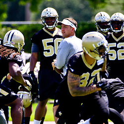 May 28, 2015; New Orleans, LA, USA; New Orleans Saints senior defensive assistant Dennis Allen runs drills during organized team activities at the New Orleans Saints Training Facility. Mandatory Credit: Derick E. Hingle-USA TODAY Sports