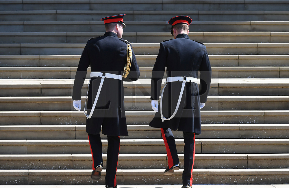 © Licensed to London News Pictures. 19/05/2018. London, UK.  PRINCE WILLAM and PRINCE HARRY arrive at the chapel for the wedding of Prince Harry, The Duke of Sussex and Meghan Markle, The Duchess of Sussex at St George's Chapel in Windsor Castle . Photo credit: LNP