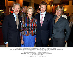 Left to right, HRH PRINCESS ALEXANDRA and her husband SIR ANGUS OGILVY, their son JAMES OGILVY and his wife JULIA OGILVY, at a party in London on 7th October 2003.PNH 54
