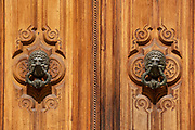 Doorhandle with two lion heads, Old door,Cartagena, Murcia, Spain