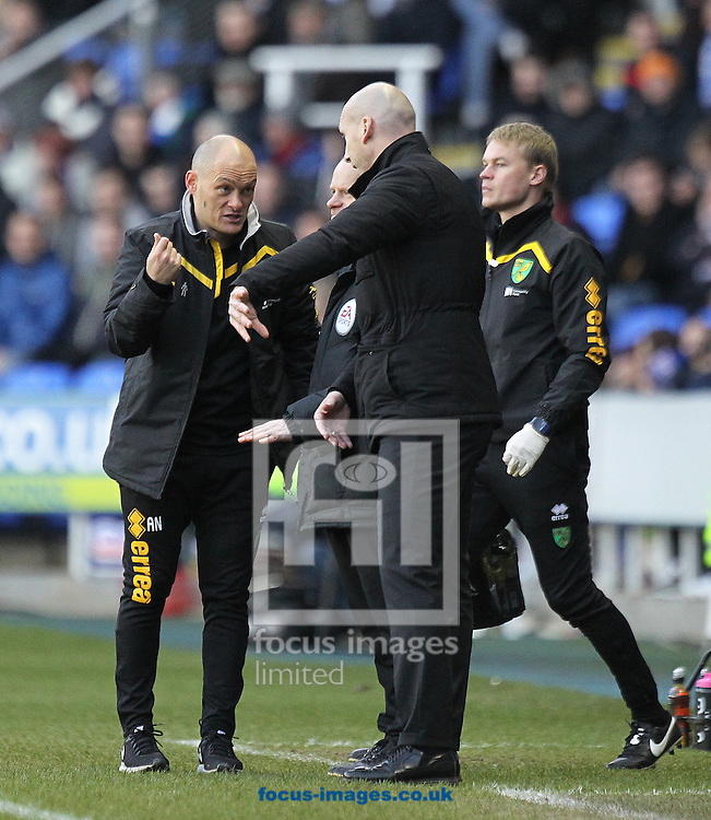 Norwich Manager Alex Neil and Reading Manager Jaap Stam have a debate during the Sky Bet Championship match at the Madejski Stadium, Reading<br /> Picture by Paul Chesterton/Focus Images Ltd +44 7904 640267<br /> 26/12/2016