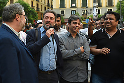 May 30, 2017 - Madrid, Madrid, Spain - Mauricio Valiente (L), deputy mayor of Madrid and Jorge García Castaño (C) councillor of  'Ahora Madrid' political party, pictured during the fourth day of holy month of Ramadan at Lavapies square in Madrid. (Credit Image: © Jorge Sanz/Pacific Press via ZUMA Wire)