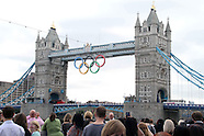 Giant Olympic rings lowered on Tower Bridge