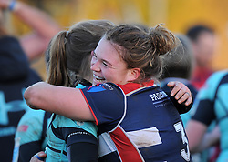 Sarah Bern of Bristol Ladies hugs a Worcester player - Mandatory by-line: Paul Knight/JMP - 04/12/2016 - RUGBY - Cleve RFC - Bristol, England - Bristol Ladies v Worcester Valkyries - RFU Women's Premiership