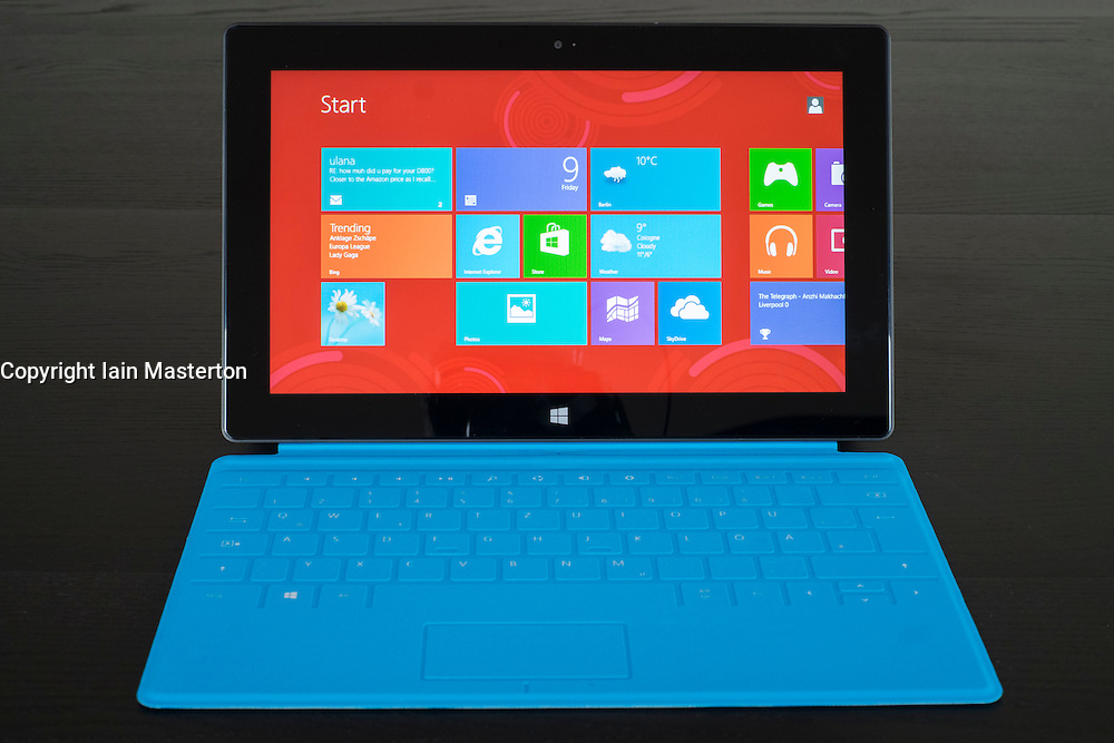 Windows 8 on a Microsoft Surface rt tablet computer with touch keyboard attached