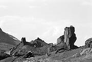 Stenskulptur i Kerkevagges månlandskap söder om Torne träsk i Lappland