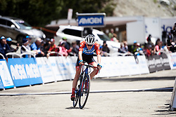 Clara Koppenburg (GER) crosses the line at Amgen Tour of California Women's Race empowered with SRAM 2019 - Stage 2, a 74 km road race from Ontario to Mount Baldy, United States on May 17, 2019. Photo by Sean Robinson/velofocus.com
