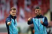 2nd Aug 2019, East End Park, Dunfermline, Fife, Scotland, Scottish Championship football, Dunfermline Athletic versus Dundee;  Josh Todd and Declan McDaid of Dundee give the thumbs up as they inspect the pitch before the match