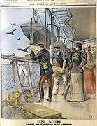 Releasing French army homing pigeons on board the transatlantic liner 'La Bretagne' between Le Havre and New York. From 'Le Petit Journal', Paris, 10 April 1898.