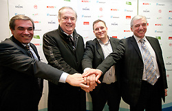 Roman Volcic, president of KZS, Serbian Bozidar Maljkovic, Matej Avanzo and Iztok Rems of KZS at press conference of new head coach of Slovenian national basketball team, on December 21, 2010 in Hotel Turist, Ljubljana, Slovenia. (Photo By Vid Ponikvar / Sportida.com)