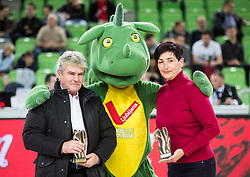 Marko Elsner, former football player and coach posing with Nataša Šiško who accepted the award in name of Polona Dornik, former basketball player at the 2017 Slovenia Hall of Fame induction ceremony during basketball match between KK Petrol Olimpija Ljubljana and Banvit B.K. in Round #8 of Basketball Champions League 2017/18, on December 19, 2017 in Arena Stozice, Ljubljana, Slovenia. Photo by Vid Ponikvar / Sportida
