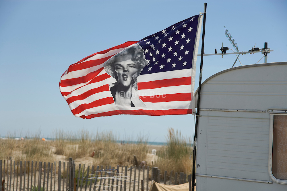 US Flag with Marilyn Monroe on a French beach