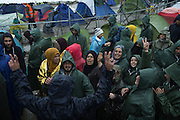 March 13, 2016 - Idomeni, Greece - <br /> <br /> Another day of tension to Idomeni. A hundred people, including men, women and children have blocked the passage of trains from Greece to Macedonia, clamoring for the opening of the Macedonian border. Idomeni, Greece. March 13, 2016.<br /> ©Exclusivepix Media