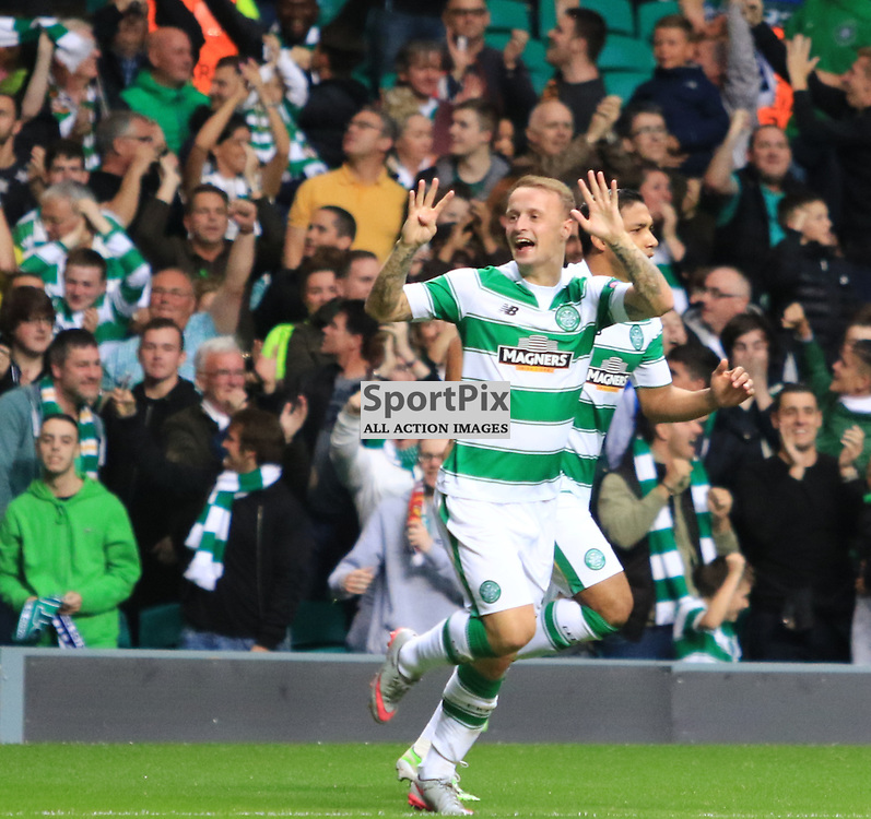 Celtic's Leigh Griffiths  celebrates after opening  the scoring during the Glasgow Celtic FC v Malmö FF Champions League Play-Off  19th August 2015 ©Edward Linton   SportPix.org.uk